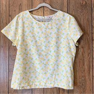 J. CREW | Women's Pineapple Printed Linen Top